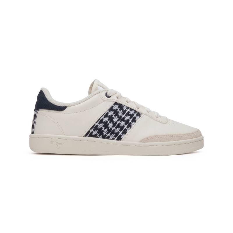 zapatillas cuero blanco negro