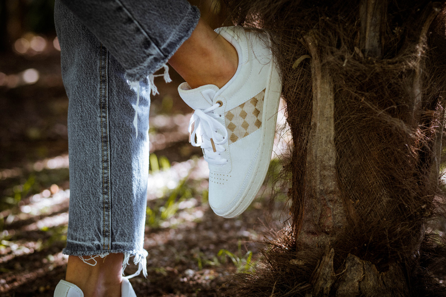 Sneakers cuir blanches recyclées
